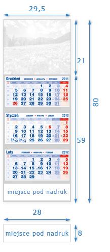schemat - typowe wymiary kalendarza trójdzielnego grupa opisu nr N-3D