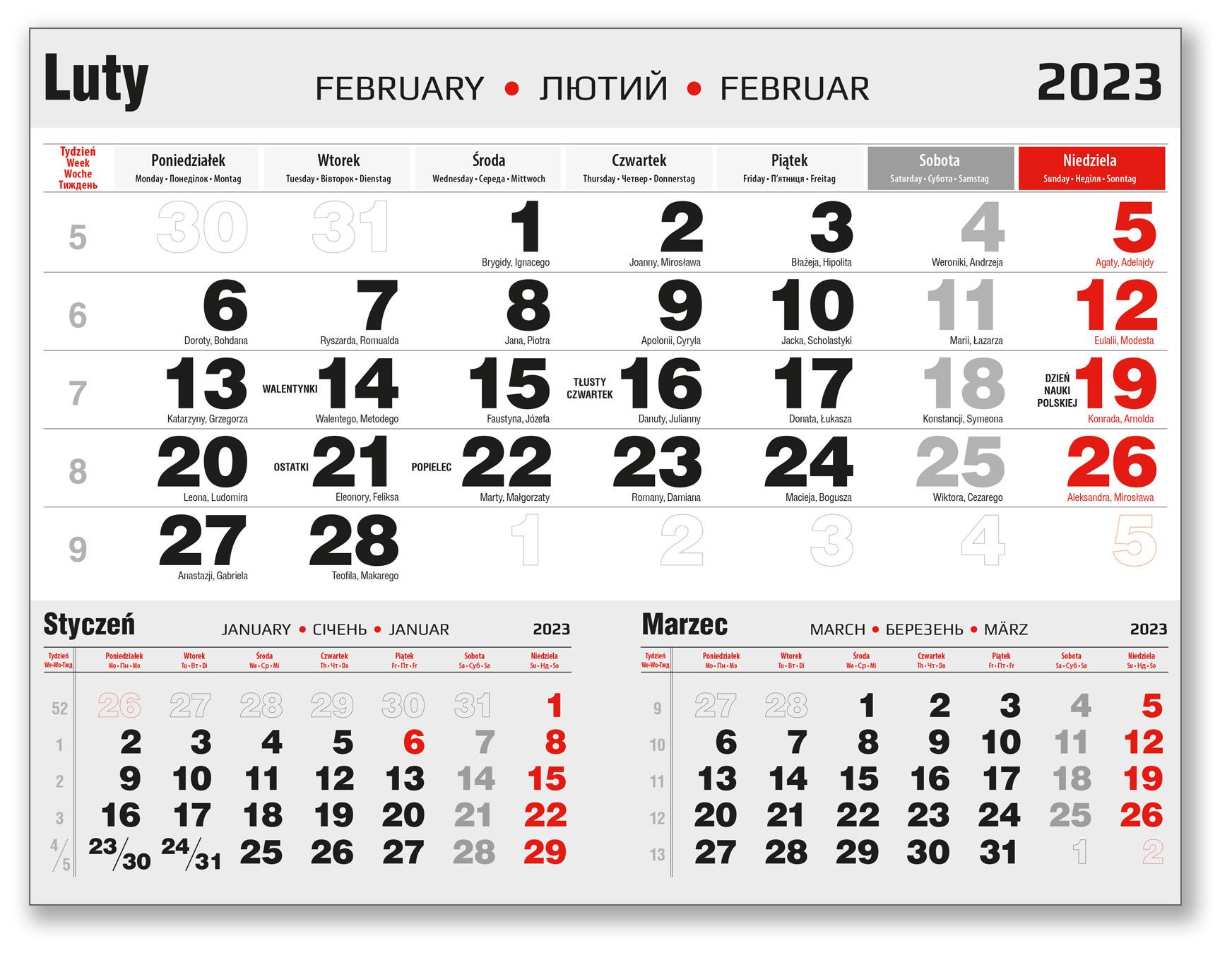 kalendarium trójdzielne luty czarno-czerwone