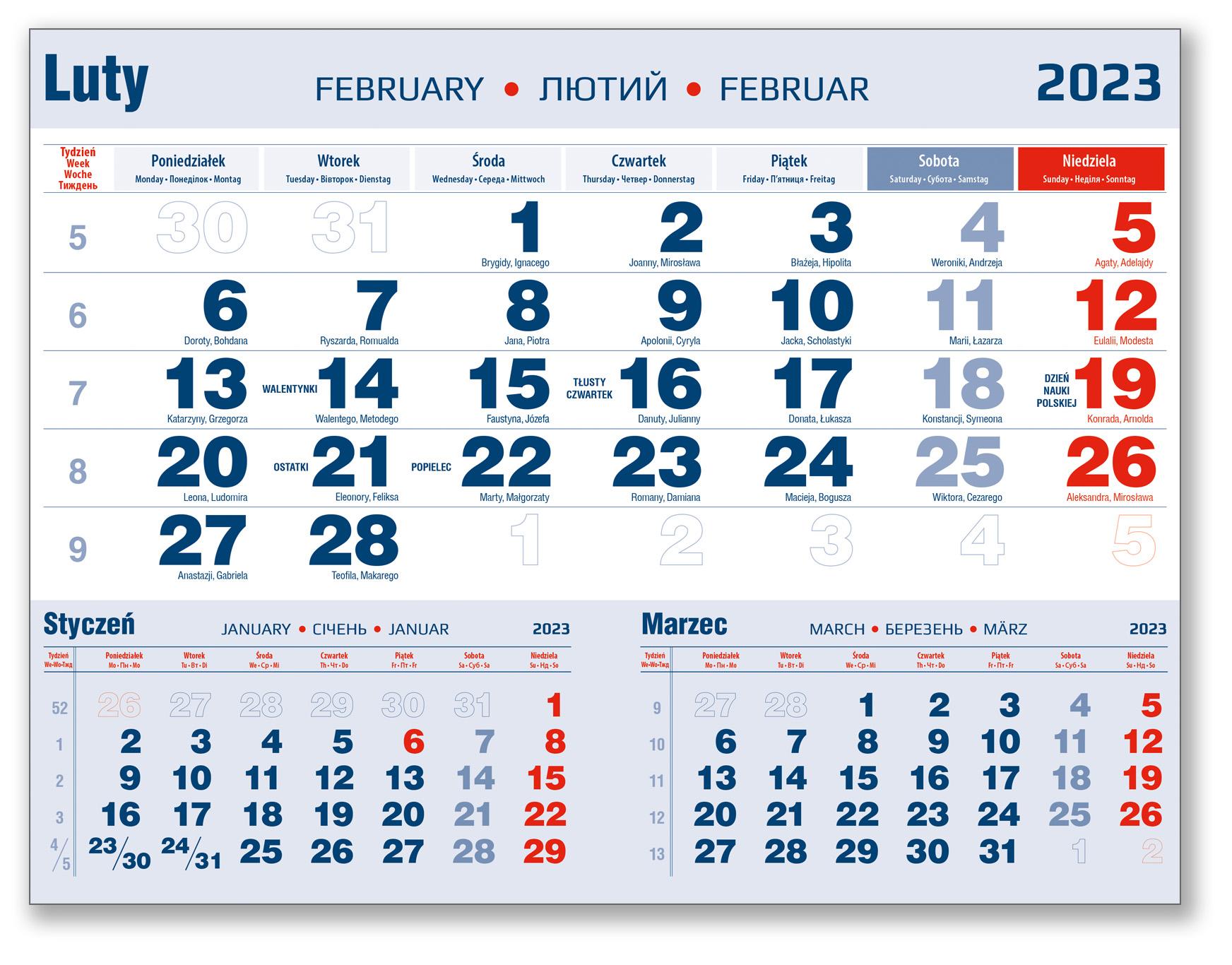 kalendarium trójdzielne luty granatowo-czerwone