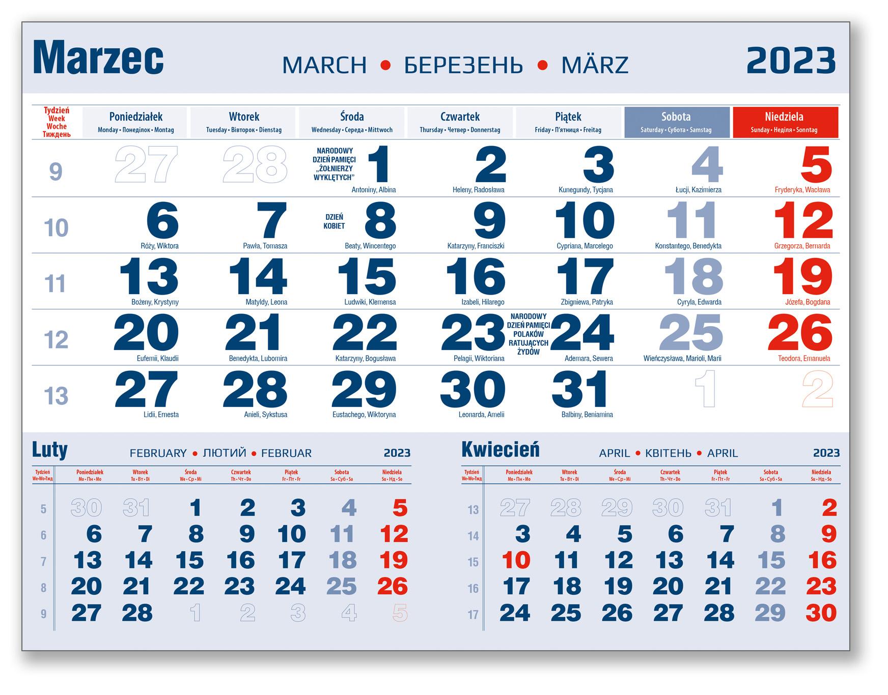kalendarium trójdzielne marzec granatowo-czerwone