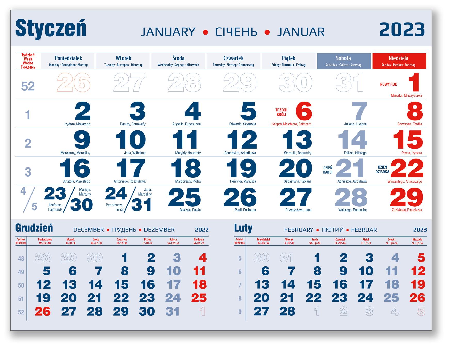 kalendarium trójdzielne styczeń granatowo-czerwone