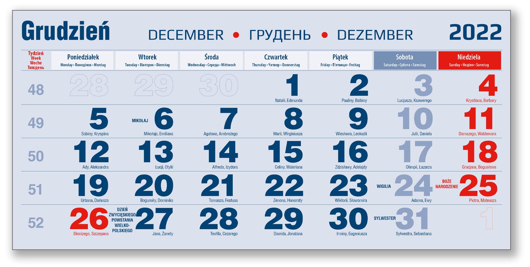 kalendarium trójdzielne grudzień granatowo-czerwone