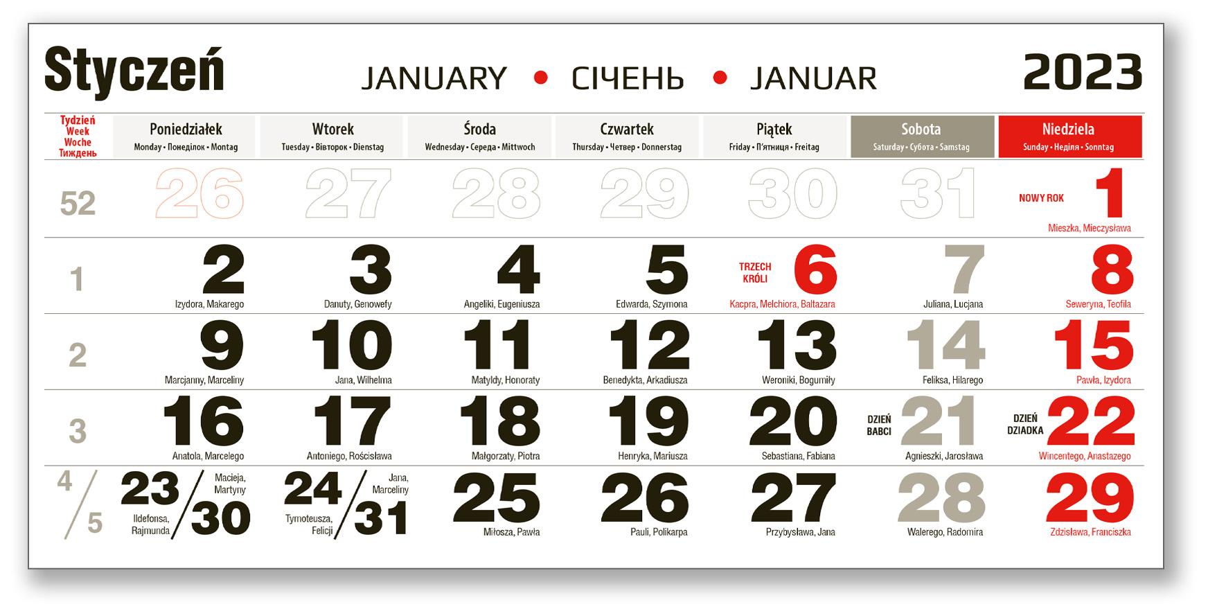 kalendarium trójdzielne styczeń czarno czerwone