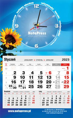kalendarium czarno-czerwone na kalendarz jednodzielny