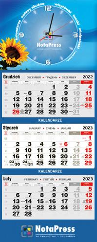 kalendarium czarno-czerwone na kalendarz trójdzielny