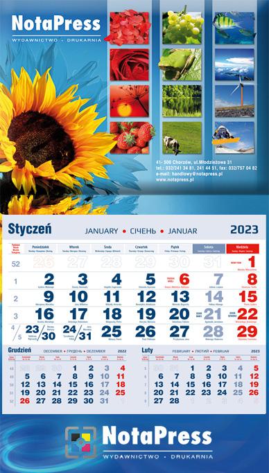 kalendarium granatowo-czerwone na kalendarz jednodzielny