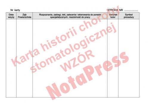 karta historii choroby stomatologia strona nr 2-4